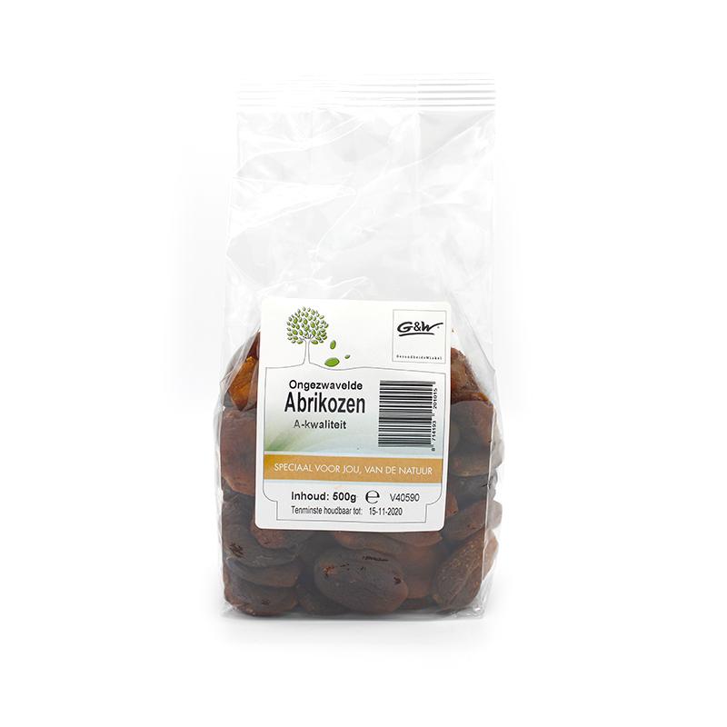 G&W Abrikozen ongezwaveld a-kwaliteit 500 gram GezondheidsWinkel